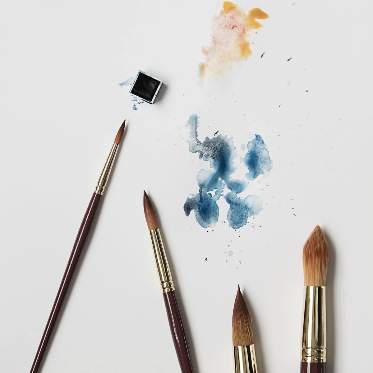 Kulaté akvarelové štětce, 4 ks