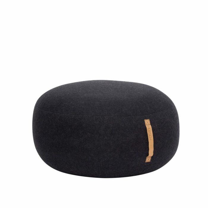 Černý vlněný puf 75 cm