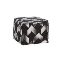 Černobílý bavlněný puf Square