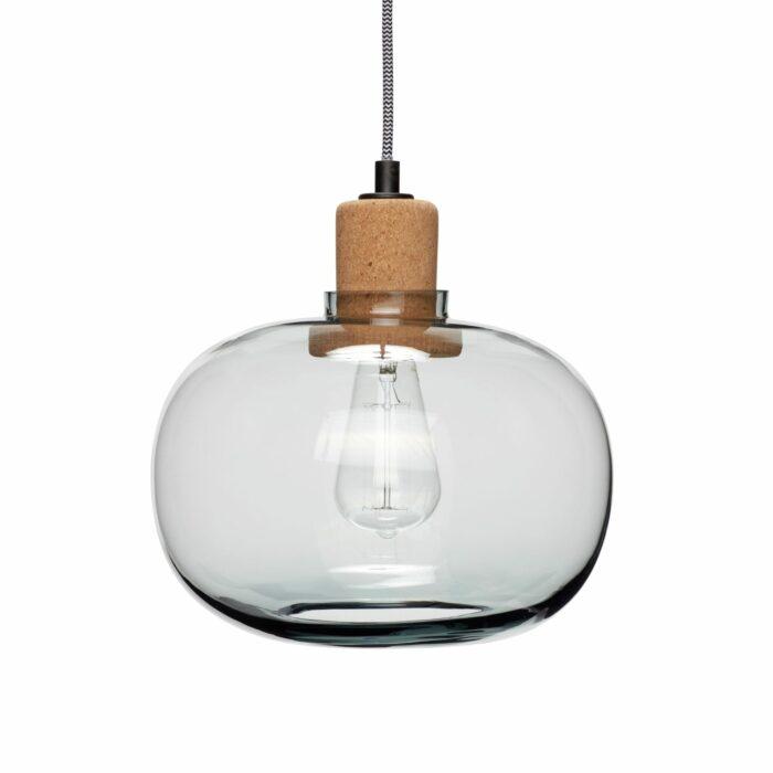 Skleněné svítidlo s korkovým detailem