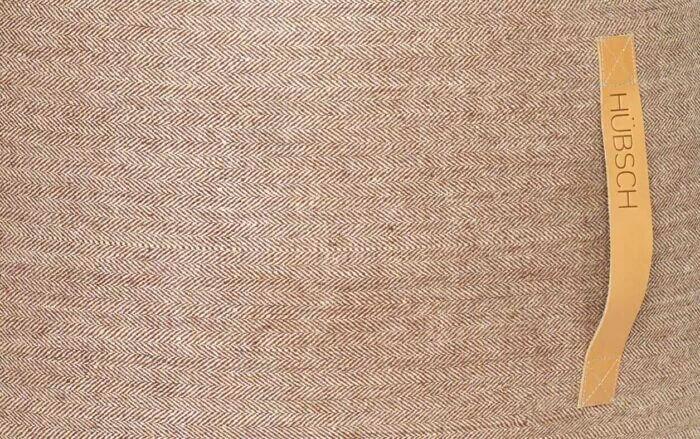 Hnědý vlněný puf Herringbone