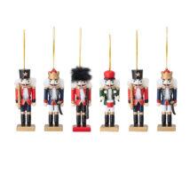 Dřevěná vánoční ozdoba Louskáček - sada 6ks